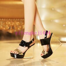Sexy Women Wedge High Clear Heel Platform Leather Party Nightclub Shoes New Pump