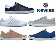 Mens K-Swiss Real Leather Pumps Casual Summer Lace Up Canvas Plimsoles