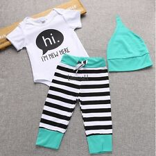 New Baby Kids Newborn Infant 3 Pieces Bodysuit Pants Cap Striped Outfit LM
