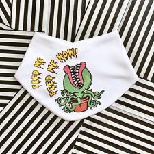 Feed Me Now Baby Bib - Funny Little Shop of Horrors Baby Bib - 100% Soft Cotton