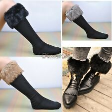 Women Faux fur Snow Socks Leg Warmer Stocking Fur Cover Cuff Boots Shoes OK02