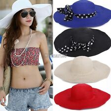 New Hot Fashion Big Wide Brim Beach Sun Cap Straw Weave Hat Sun Hat OK02