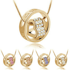 WOMENS FASHION CRYSTAL CHAIN RHINESTONE LOVE HEART RING PENDANT NECKLACE SELLING