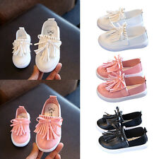 Girl Soft Casual Shoes Tassels Shoes Children Kid Slip-on Bowknot Shoes AU 4-8.5
