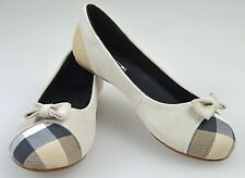 BURBERRY GIRL BALLERINA FLATS SHOES BEIGE SUEDE AND CANVAS CODE B19140