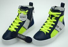 HOGAN REBEL BOY SNEAKER SHOES BLUE FLUO YELLOW CODE HXC1410U770CTH0KYF
