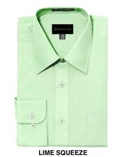 MEN DRESS SHIRTS BY DIMENSION CASUAL SOLID COLOR BUSINESS SHIRTS LIME