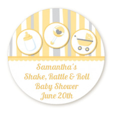 Shake Rattle Roll Baby - Round Personalized Baby Shower Sticker Labels - 8 sizes