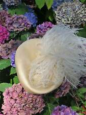 1950s 60s Ostritch Feather Trimmed Cream True Vintage Pill Box Hat