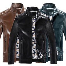 Casual Men Slim Trench Coat Motorcycle Jacket Faux Leather Stand Collar Outwear