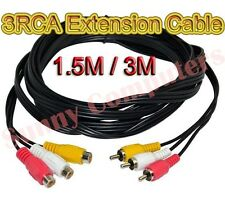 3RCA 3 RCA Audio Video AV Composite Extension Cable Cord DVD TV Adapter 3M 1.5M