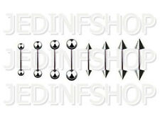 Straight Barbell Tongue Nipple Bar - 1.2mm (16g) - 14mm - Stainless Steel