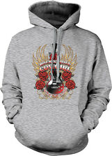 Rock N' Roll Cowgirl Guitar Roses Wings Country Band Horse Am Hoodie Sweatshirt