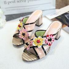 New Womens Fashion Flowers Peep Toe Block High Heels Mules Chic Slippers Sandals