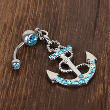 Punk Rhinestone Anchor Dangle Button Barbell Belly Navel Ring Bar Body Piercing