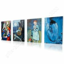 CANVAS (Rolled) Lady Book Guitarist Blue Pablo Picasso Set Of 4 Oil Paints