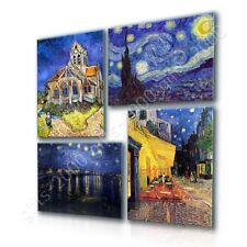 CANVAS (Rolled) Starry Night Church Rhone Cafe Vincent Van Gogh Set Of 4 Art
