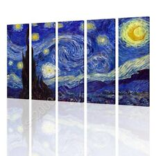 CANVAS (Rolled) Starry Night Vincent Van Gogh 5 Panels Wall Art Pictures