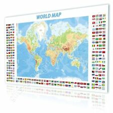 CANVAS (Rolled) Physical Modern Flags World Map Oil Paints Oil Paintings Prints