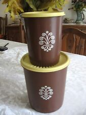 VTG Tupperware Servalier Canister Set of 2 Brown with Pale Yellow Seals Lids