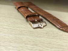 TAN BROWN, GENUINE CROC LEATHER WATCH STRAP, OMEGA ROSE GOLD BUCKLE, 18MM,20MM