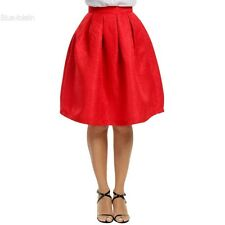 Women Fashion High Waisted Floral Knee Length Pleated Party Skirt BLLT
