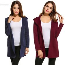 New Women Casual Hooded Long Sleeve Solid Knit Cardigan Sweaters BLLT