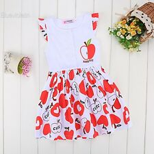 Fashion Summer Kids Girls Short Sleeve High Waist Dress O-Neck Splice Print BLLT