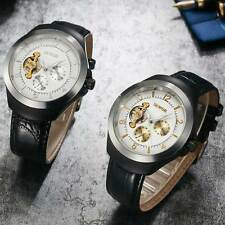 Automatic Black Day Night Display Mechanical Wrist Watch Leather Band Mens Gift