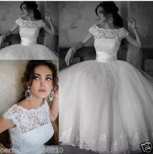 Cap Sleeve Tea Length Lace Wedding Dress Bridal Gown Party Prom Dress Size 6-18
