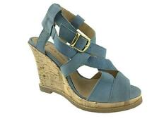 NEW LOOK LADIES LEATHER STRAPPY WIDE FIT WEDGE SANDALS BLUE SIZE 3-7