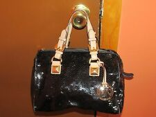 Michael Kors Black Grayson Sequins Handbag Purse Satchel Medium