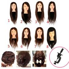 New 100% Real Human Hair Salon Hairdressing Training Head Mannequin Doll + Clamp