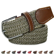 Unisex Elastic Stretch Pin Buckle Casul Woven Canvas PU Leather Waistband Belt