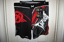 TAPOUT PERFORMANCE MMA FIGHT SHORTS COLOR BLACK AND RED SIZES 30 36 38 NWT