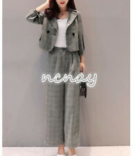 Womens Slim Fit Casual Suit Lapel Coat Blazer Wide Leg Trousers Double breasted