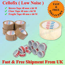 """CELLOFIX LOW NOISE PACKING PARCEL TAPE BROWN/CLEAR/FRAGILE TAPE 48MM2""""X66M CHEAP"""