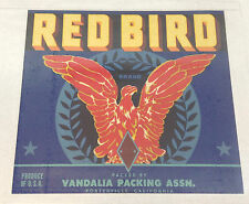 Red Bird Brand, Produce Box Label *Collectable Vintage, 10 1/2 x 9 3/4 inches