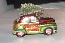 Blown Glass Woody Station Wagon Car with tree  Christmas Ornament