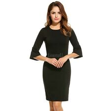 New Women Casual O-Neck Three Quarter Flare Sleeve Solid Dress LM01