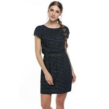 Meaneor Women Round Neck Elastic Waist Print Casual Fit Pocket Dress LM01