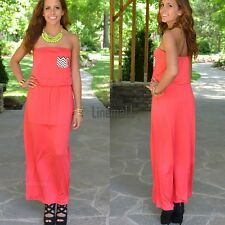 New Women Sexy Strapless Sleeveless Casual Party Long Dress LM01