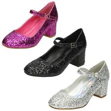 Girls Spot On Heeled Sparkley Dolly Shoes 'H3057'