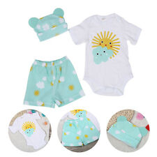 3Pcs/Set Infant Short Sleeve Romper Cotton Baby Bodysuit with Hat and Shorts GW
