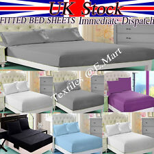 100% PERCALE PLOY COTTON FITTED BED SHEET SINGLE DOUBLE KING SUPER KING LUXURY *