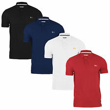Mens Crosshatch Polo Shirt Embroidered Cotton Short Sleeve Casual Top S-XXL