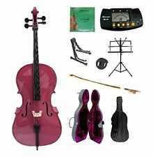 New 4/4-1/4 Size HOT PINK Cello,Case,Bag,Bow+Strings+2 Stands,Tuner,Rosin,Mute