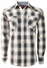 RODEO MEN'S WESTERN COWBOY RODEO PEARL SNAP SHIRT LONG SLEEVE PLAID 411 GREY