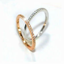 Silver/Rose Gold Single Row CZ Band Women's Gift 925 Silver Tail Ring Adjustable