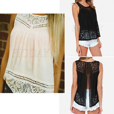 Women Summer Casual Vest Top Sleeveless Lace Blouse Tank Tops T-Shirt Lovely